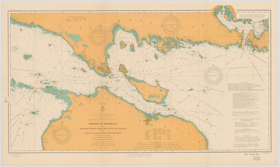 Strait of Mackinac Lake Michigan - Historical Map 1908
