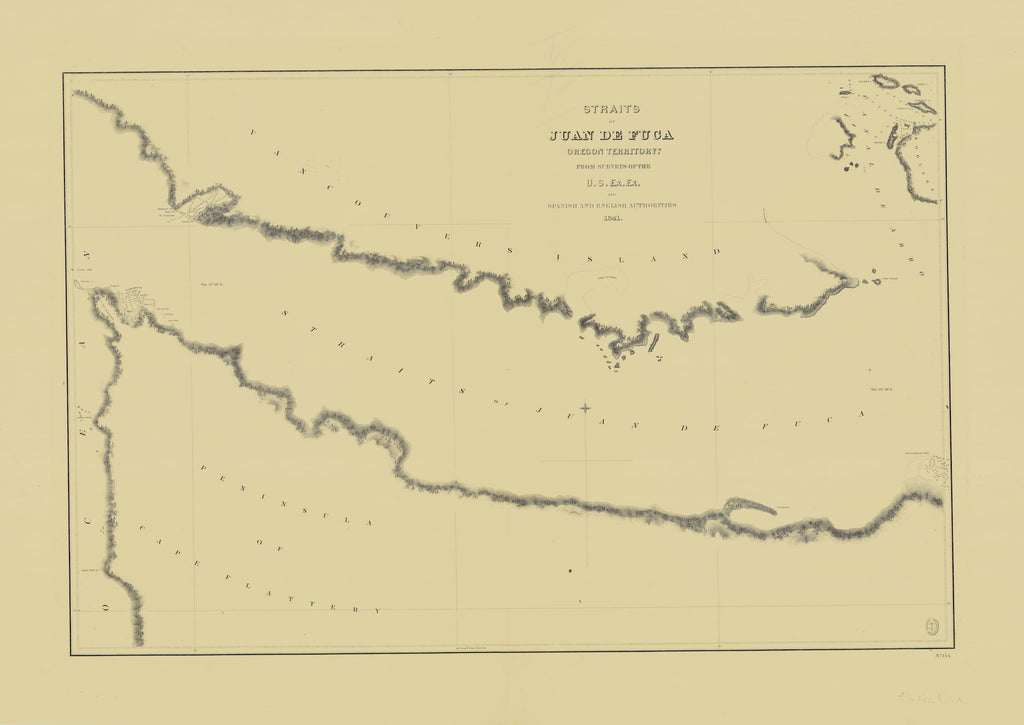 Strait of Juan de Fuca Map - 1841
