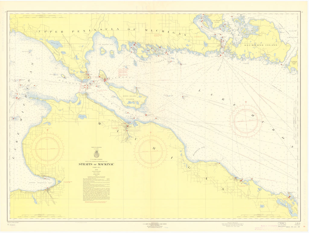 Straits of Mackinac Map - 1958