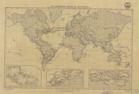 Submarine Cables of the World Map - 1893