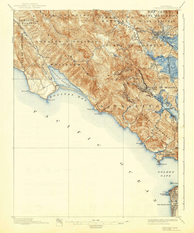 Tamalplais California Topographic Map 1897