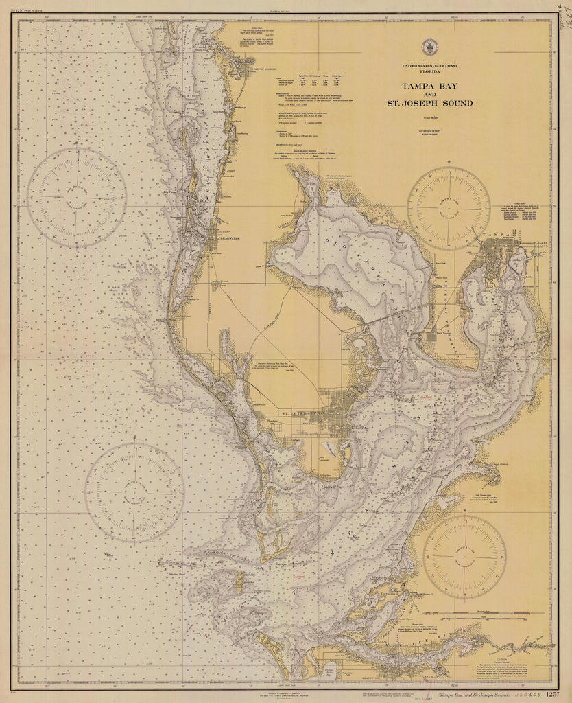 Map Of Tampa Bay Florida.Tampa Bay Florida Map 1932