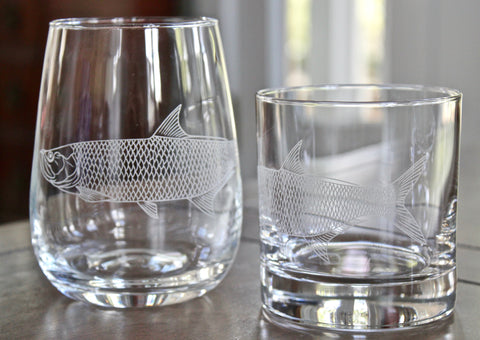 Tarpon - Engraved Rocks, Stemless Wine & Pint Glasses