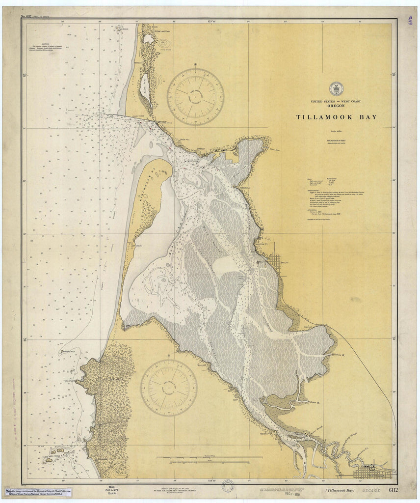 Tillamook Bay Oregon Historical Map 1928