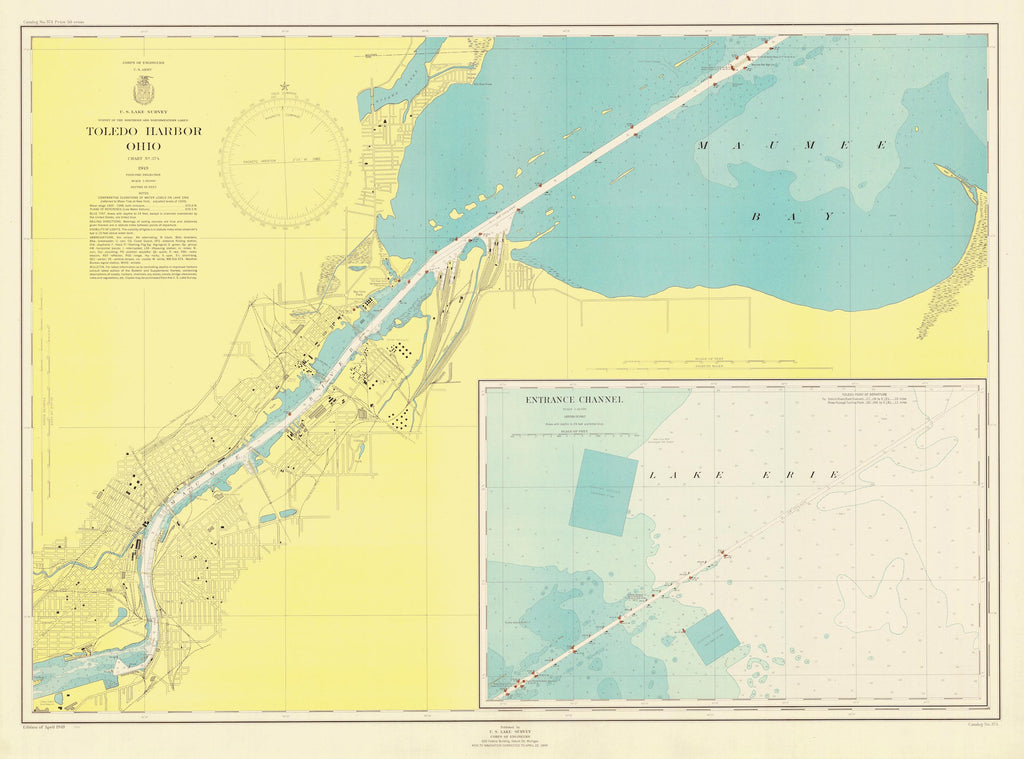 Toledo Harbor Map - 1949