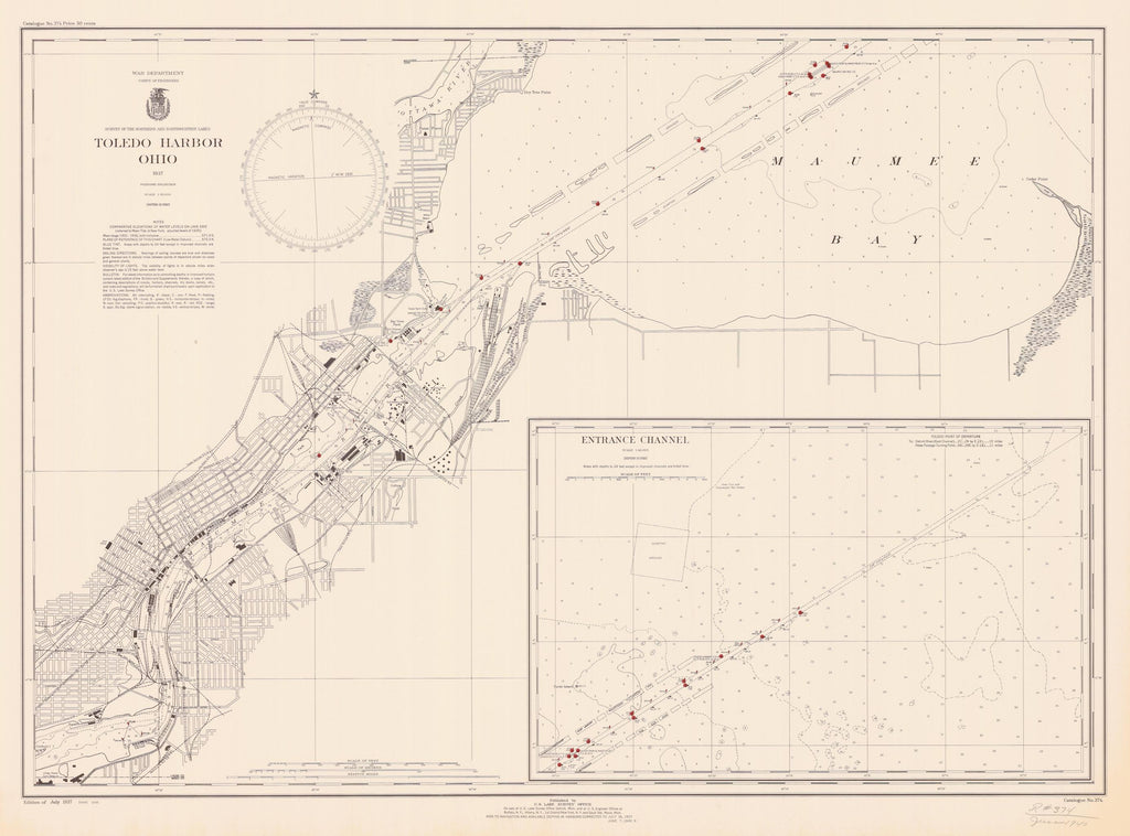 Toledo Harbor Map - 1937