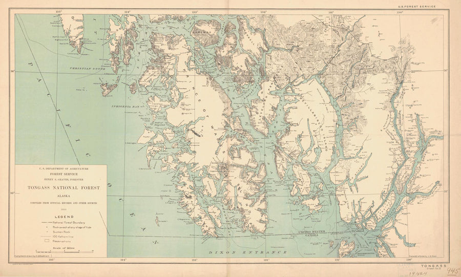 Tongass National Forest Map - 1910