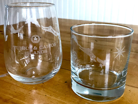 Turks & Caicos Islands Map - Engraved Rocks & Stemless Wine Glasses
