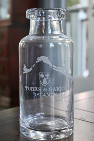 Turks and Caicos Map Engraved Glass Carafe