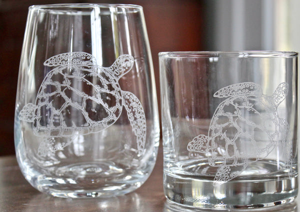 Sea Turtle Engraved Rocks, Stemless Wine & Pint Glasses
