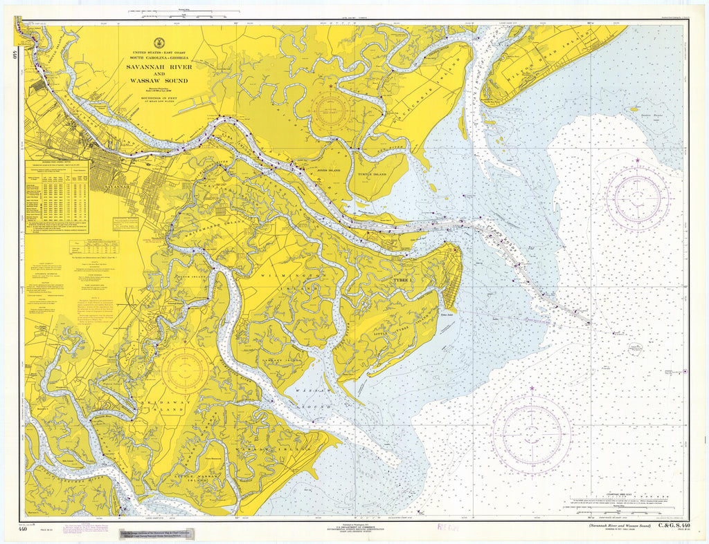 Tybee Island - Savannah River Map 1970