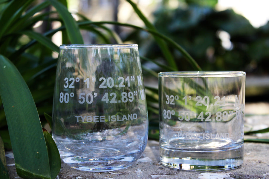 Tybee Island GPS Coordinate - Engraved Rocks, Stemless Wine & Pint Glasses