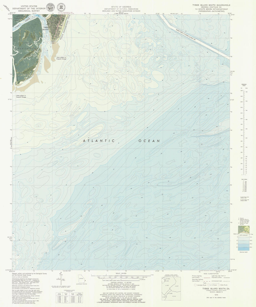 Tybee Island South Map - 1979