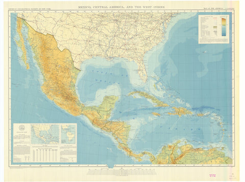 United States, Mexico, Central America, and the West Indes Map - 1942