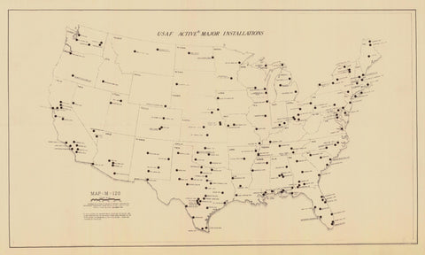 United States Air Force Major Installations Map - 1955