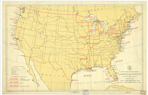 United States Light House Districts Map - 1918