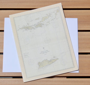 "Virgin Islands & British Virgin Island Map Notecards (1921) 4.25""x5.5"""