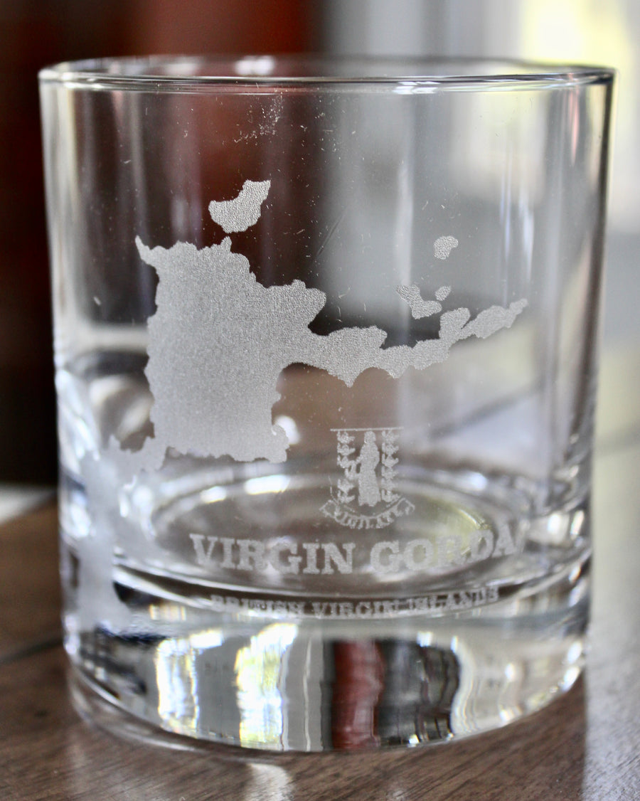 Virgin Gorda BVI Map Glasses