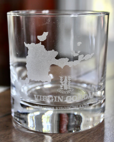 Virgin Gorda BVI Map - Engraved Rocks, Stemless Wine & Pint Glasses