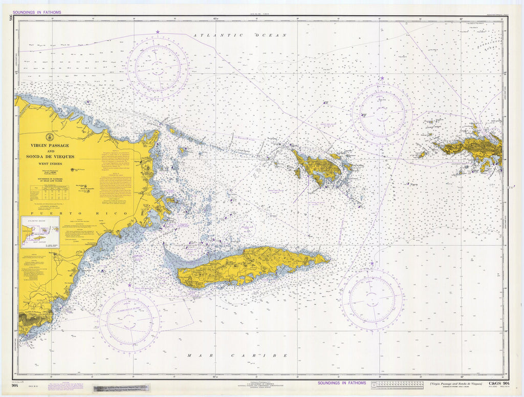 Virgin Islands Passage Map - Puerto Rico to St. Thomas Historical ...