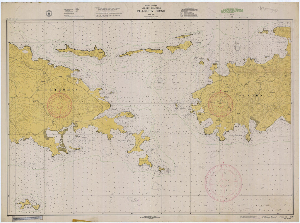 Virgin Islands Map - Pillsbury Sound Historical Chart 1941