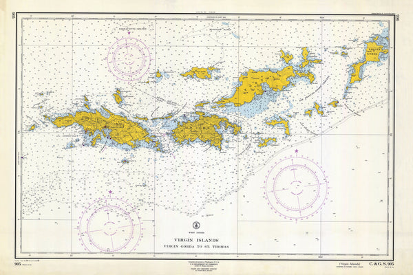 Virgin Islands Map - St. Thomas to Virgin Gorda 1962