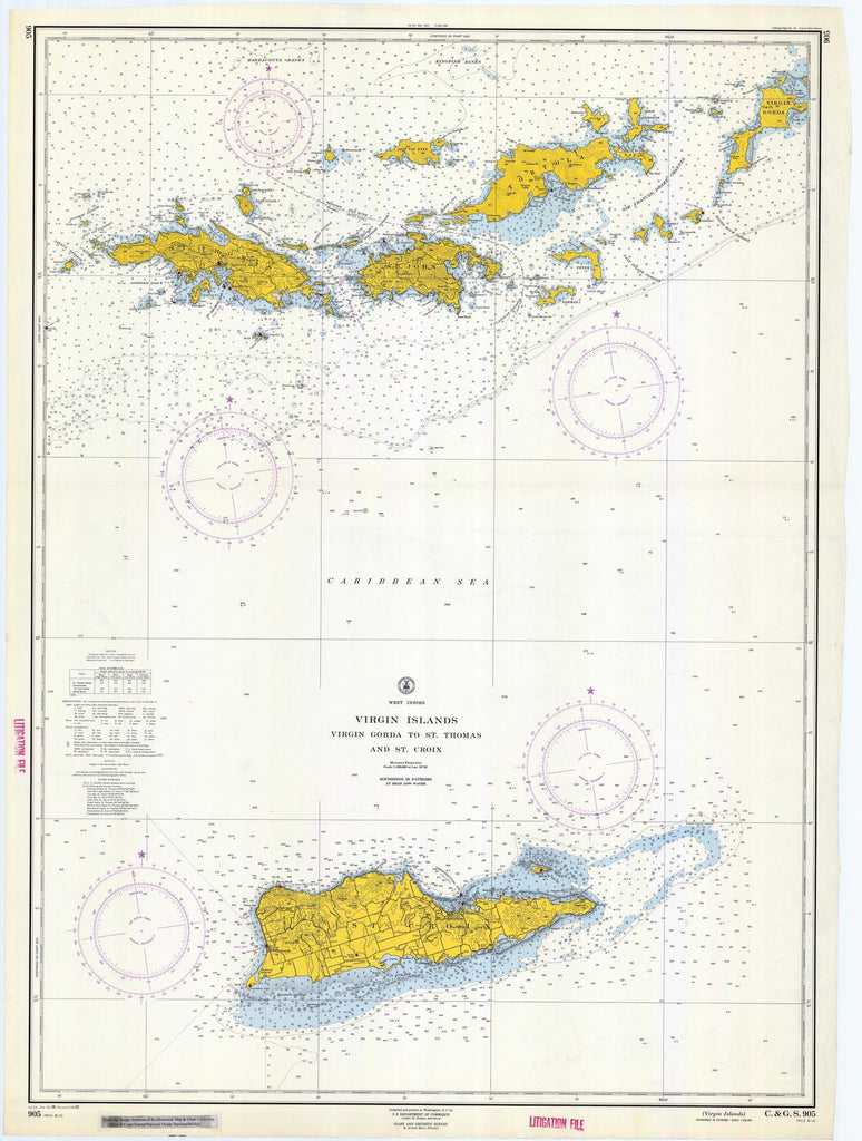 Virgin Islands Map - USVI & BVI Chart 1962