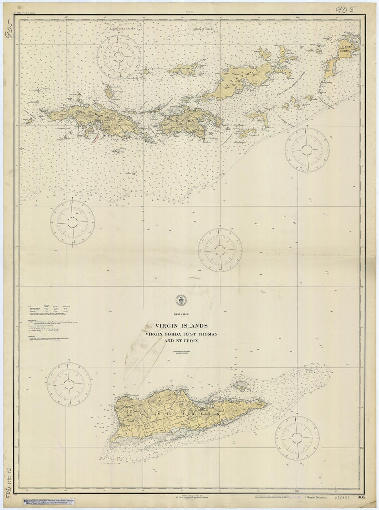 Virgin Islands Map - USVI & BVI Historical Chart 1921