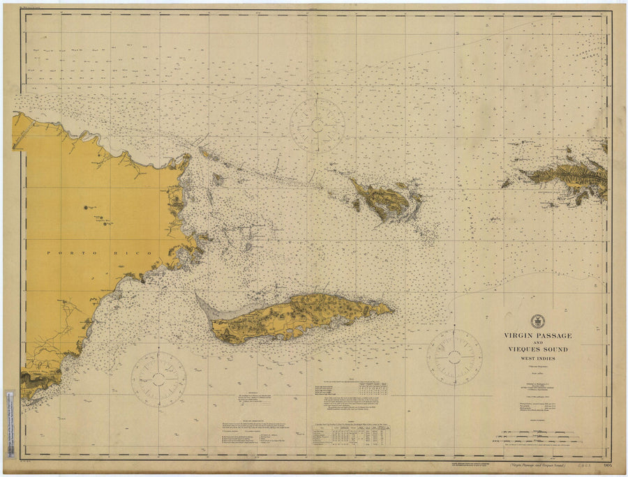 Virgin Islands Passage Map - Puerto Rico to St. Thomas Historical Chart 1916