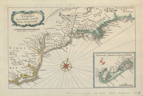 Virginia to New England Map - 1669