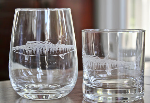 Wahoo - Engraved Rocks, Stemless Wine & Pint Glasses