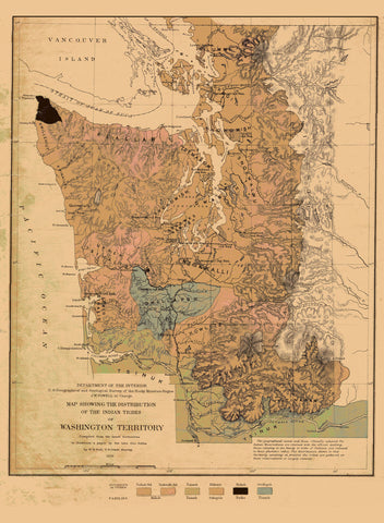 Washington Territory - Native American Tribes Map - 1876