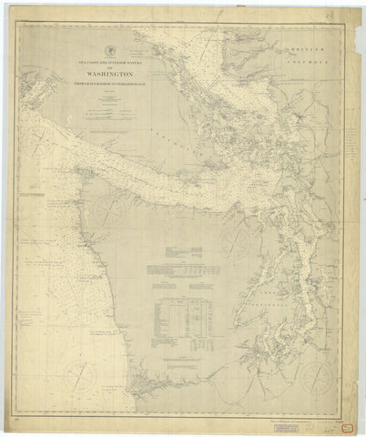 Washington from Grays Harbor to Semiahoo Bay Map - 1900