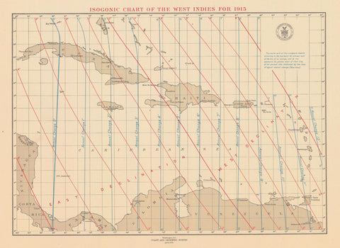 West Indies Isogonic Chart - 1914