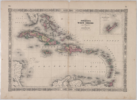 West Indies Map (Johnson & Ward)