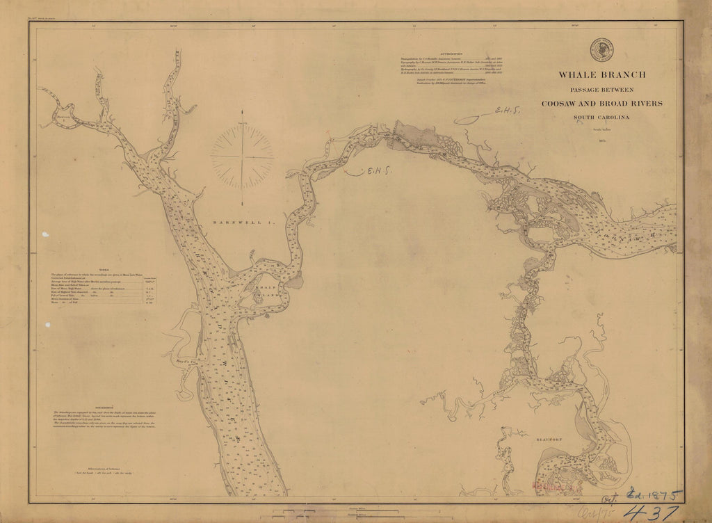 Whale Branch Passage - Coosaw and Broad Rivers Map - 1875