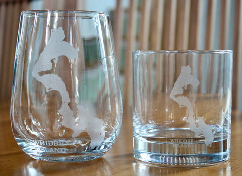 Whidbey Island Map - Engraved Rock, Stemless Wine & Pint Glasses