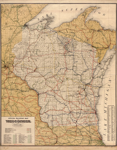 Wisconsin Rail Road Map 1917