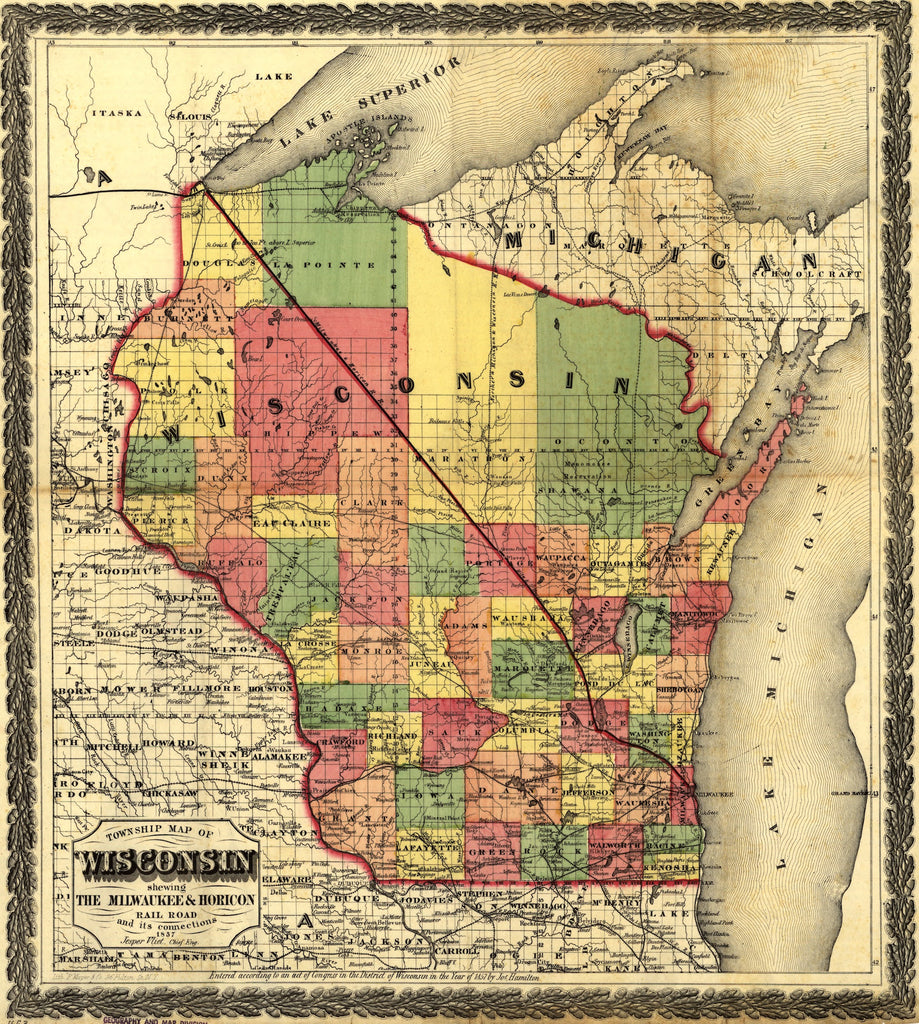 Wisconsin Map 1857