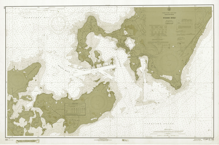 Woods Hole Passage Chart (1966) - sepia