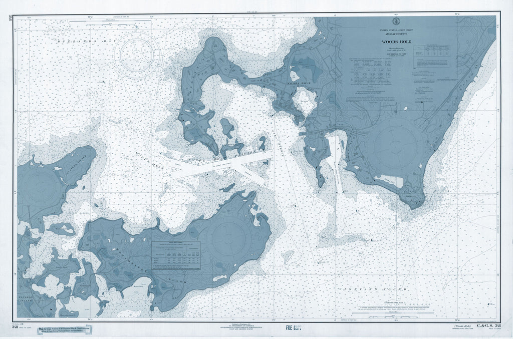 Woods Hole Passage Chart (1966) - blue