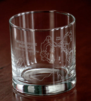 Woods Hole Passage Engraved Chart Glasses - Wholesale listing (Rocks, Stemless Wine & Pint Glasses)