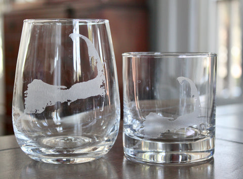 Cape Cod Map - Engraved Glasses
