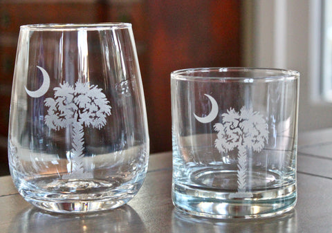Palmetto & Crescent Moon Engraved Rocks, Stemless Wine & Pint Glasses