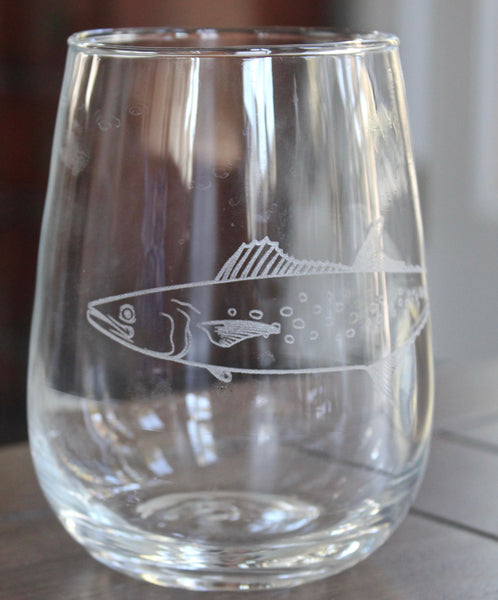 Spanish Mackerel - Engraved Rocks, Stemless Wine & Pint Glasses