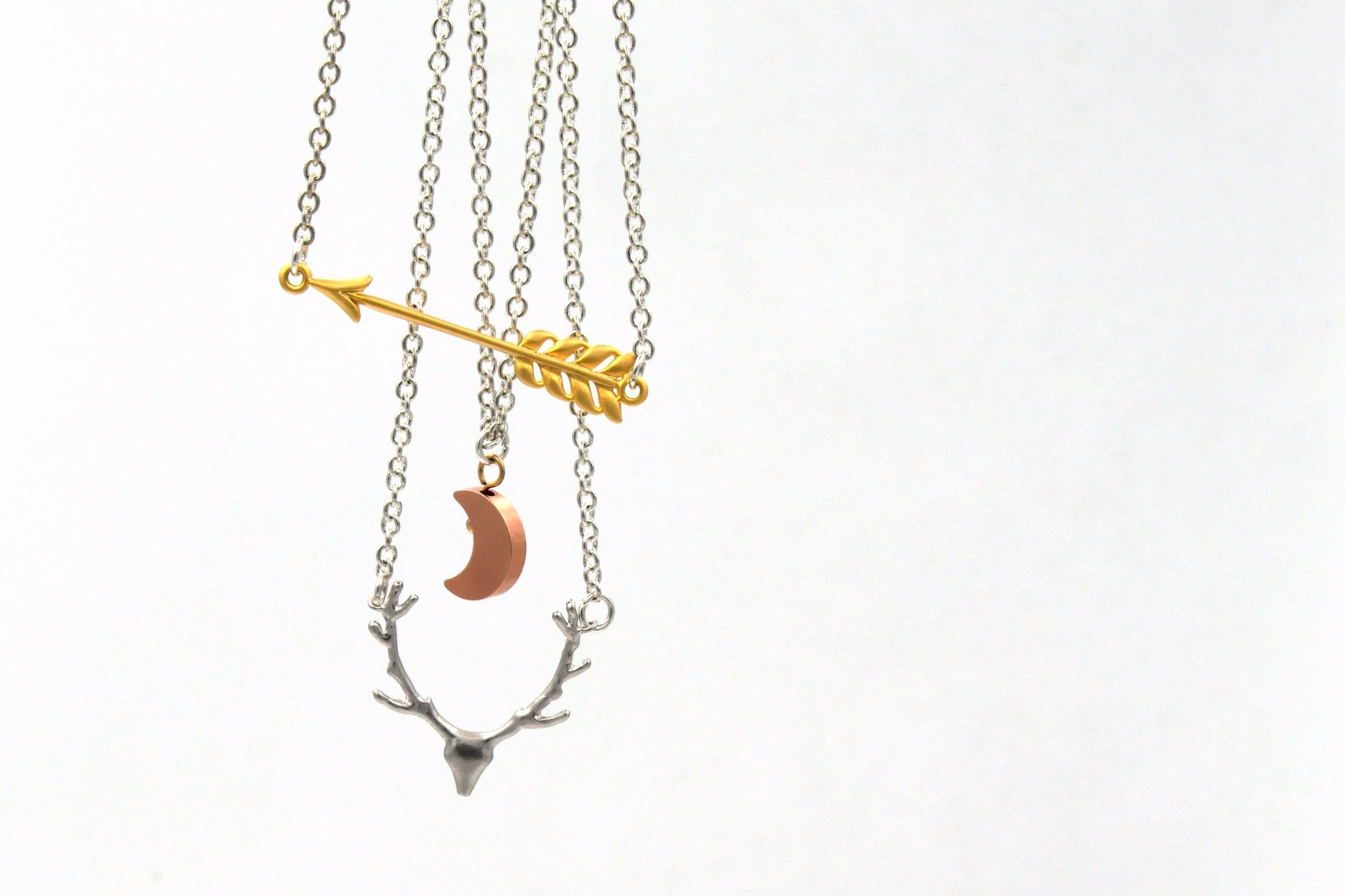 Artemis Layered Necklace with Arrow, Moon and Deer Skull Charms (Silver, Rose Gold and Gold Mixed Metals, Greek Mythology Jewelry) fripparie