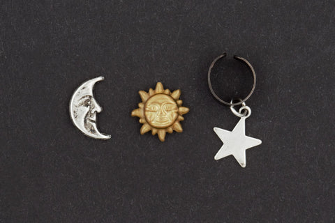 Celestial Sun Moon and Star Earring & Ear Cuff Set (Sterling Silver Posts, Space Galaxy Jewelry) fripparie