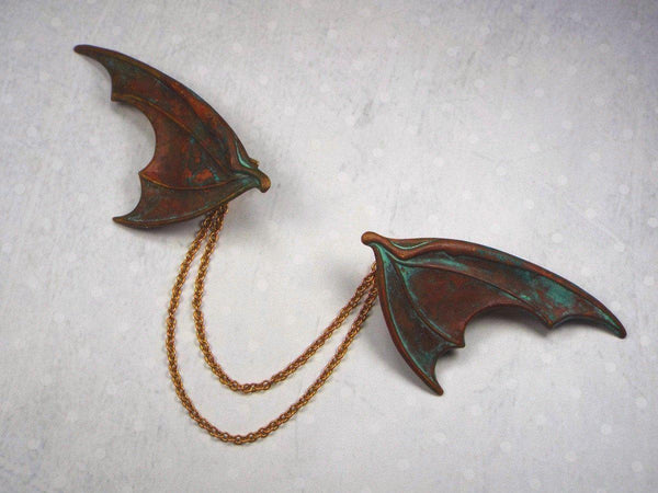 Dragon Wing Fantasy Sweater Clip or Cloak Clasp, Brass with Verdigris Patina fripparie