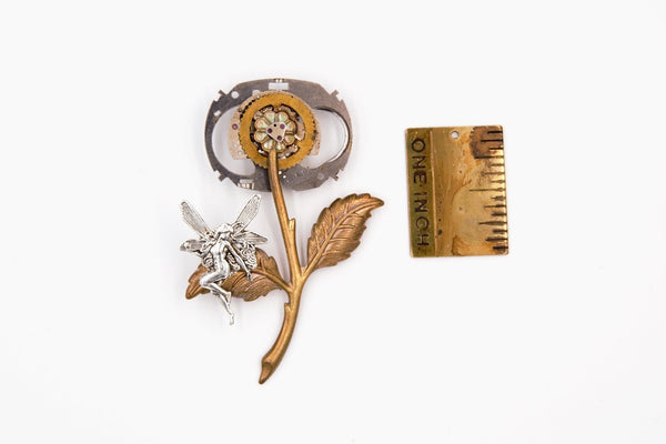 Fairy and Flower Steampunk Brooch Pin (Brass, Steampunk Jewelry) fripparie