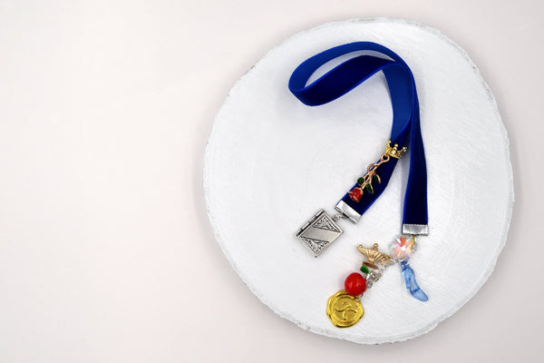 Fairy Tale Personalized Blue Velvet Ribbon Bookmark with Initial Charm and Book Locket fripparie